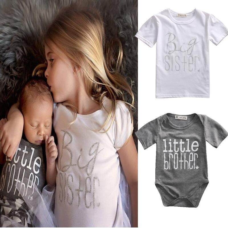 f804acb6d903 SoonYip Matching Cotton Clothes Big Sister T-shirt Little Brother Romper  Outfit Playsuit