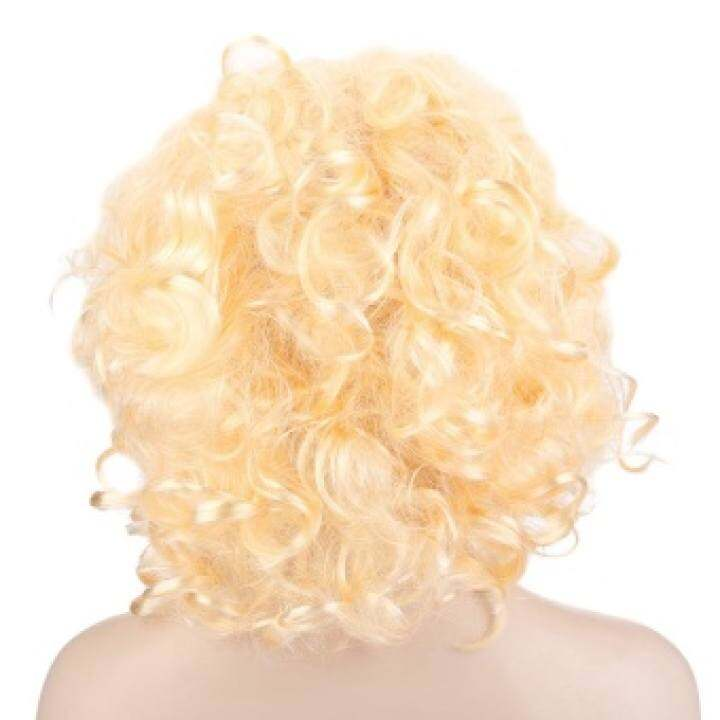Medium Curly Light Gold Wigs Loose Spiral Perms Hair Cosplay Formarilyn Monroe
