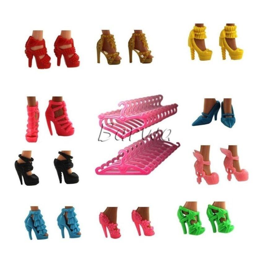 Mega 20 Ite = 10 Modis Differe Stlyes Sepatu Boo dan 10 Gantungan Baju untuk Boneka Barbie Acak Gaya- internasional