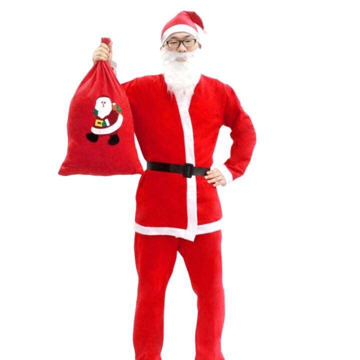 Men Xmas Christmas Long Sleeve Fancy Costume Clothing with Santa Hat Bag Beard Set