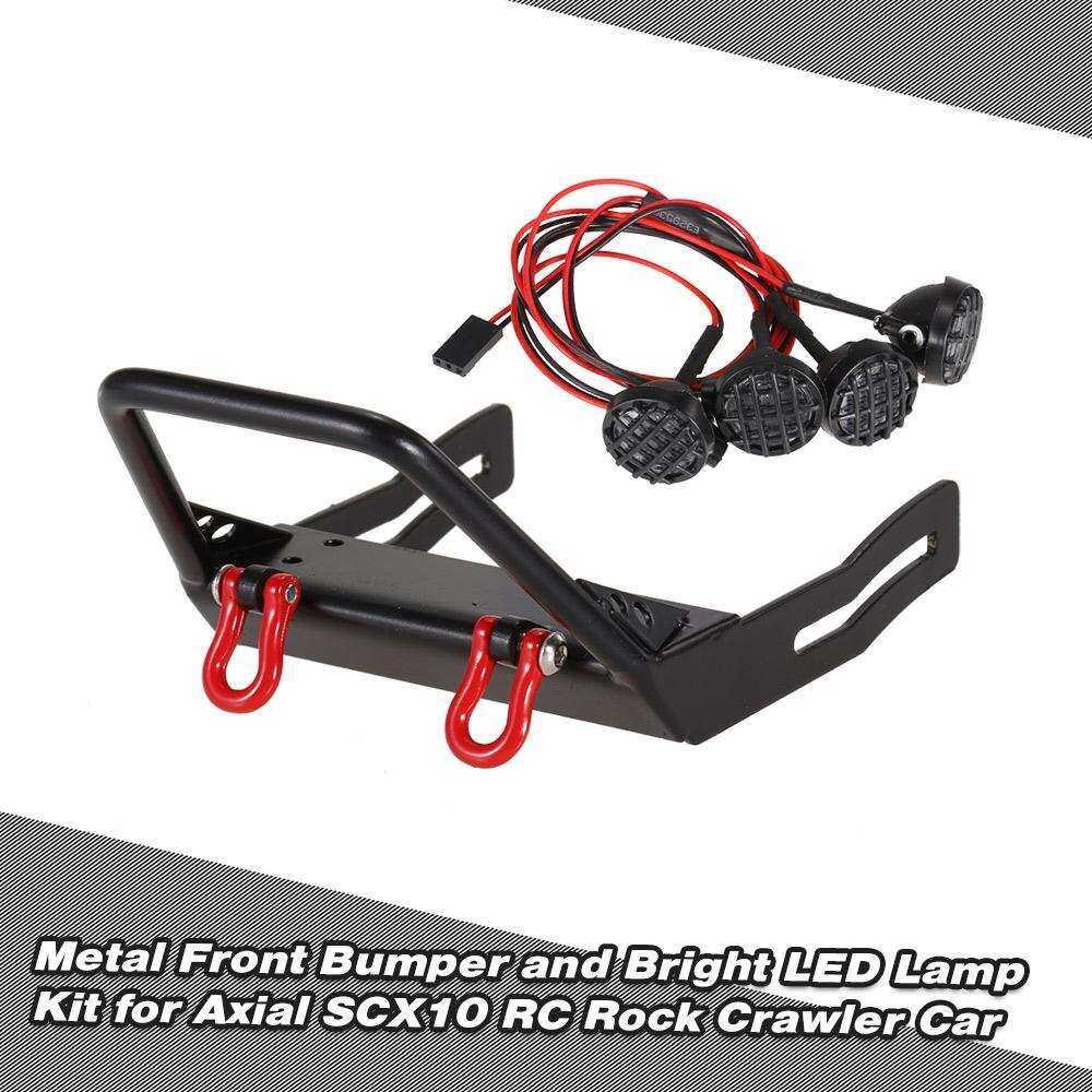 Metal Bumper Depan dengan Kait Derek Belenggu dan Lampu LED Terang Mobil RC Kit D90 RC4WD Rock Aksial 1/10 untuk Crawler SCX10