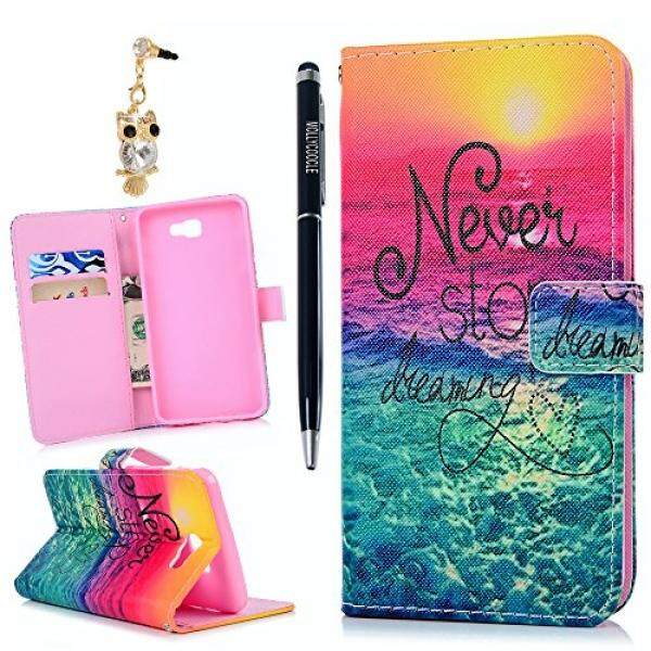 MOLLYCOOCLE Galaxy J7 Prime/On7 2016 Case,Wallet Case PU Leather Cute Pattern Soft
