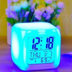 Multi-Function Bedroom Kids 7 Color Led Change Digital Glowing Alarm Clock Thermometer Color Changable Electronic Clock By Brisky.