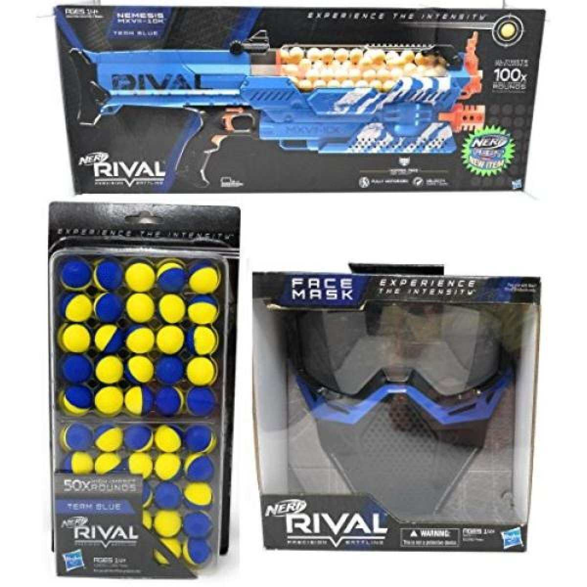 Nerf Rival Nemesis MXVII-10K, Face Mask, 50 Round Refill Pack Bundle (