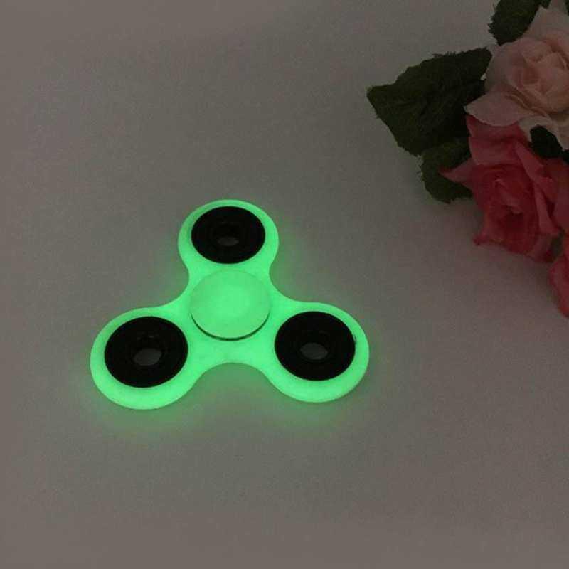Kmdshxns Fidget Segitiga Spinner Ujung Jari Gyro Tangan Bersinar Dadu Antistress Spinner Menghilangkan Luminous Versi EDC