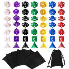 New Game Dice With Free Pouches 7 Sets 49 Pieces Polyhedral Dice 7 Colors D & D By Five Star Store.