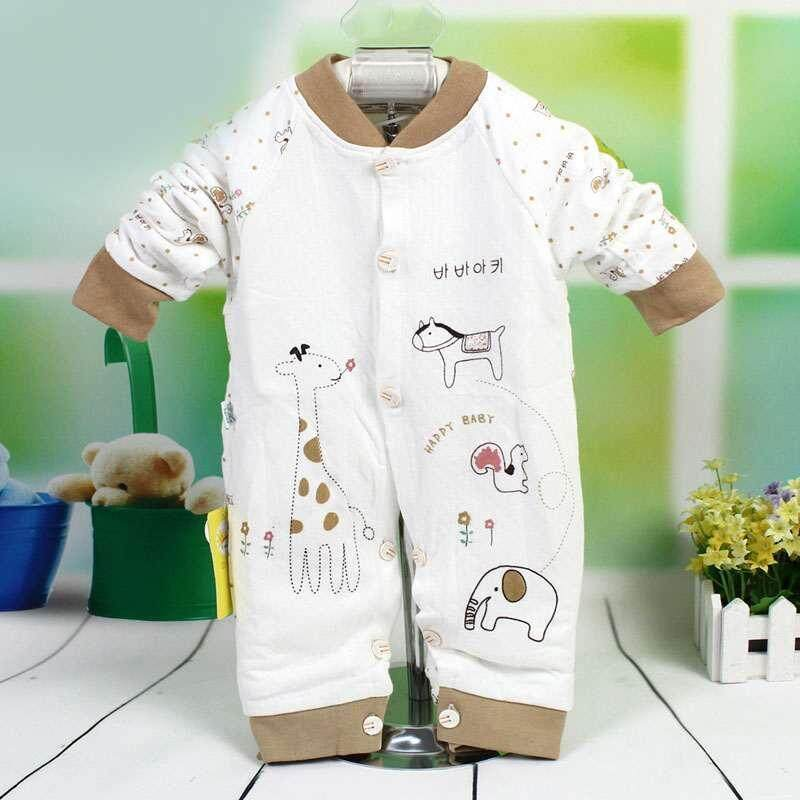 SoonYip New Newborn Baby Cutely Baby Boy Girl Conjoined Clothes Cotton Long Sleeves Open The Crotch