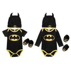 Newborn Baby Batman Short Sleeve Romper Bodysuit+shoes+hat Clothes 3pcs Outfits Set By Be Top.