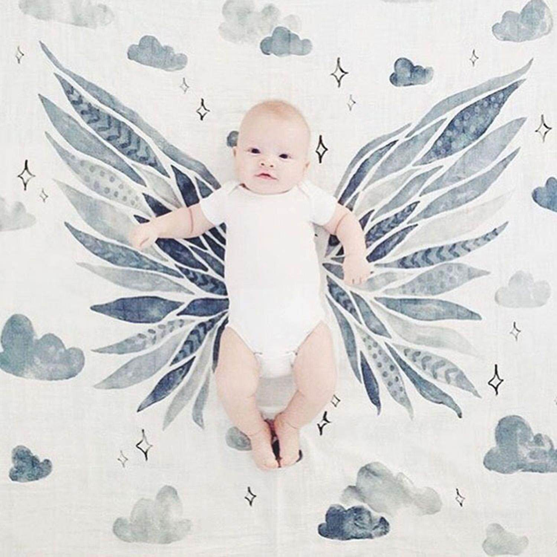 Selimut Bayi Yang Baru Lahir Musim Panas Cetak Katun Swaddle Pembungkus Lembut Kain Kasa Bayi Handuk Mandi Warna: satu Lapisan-Wing-Internasional