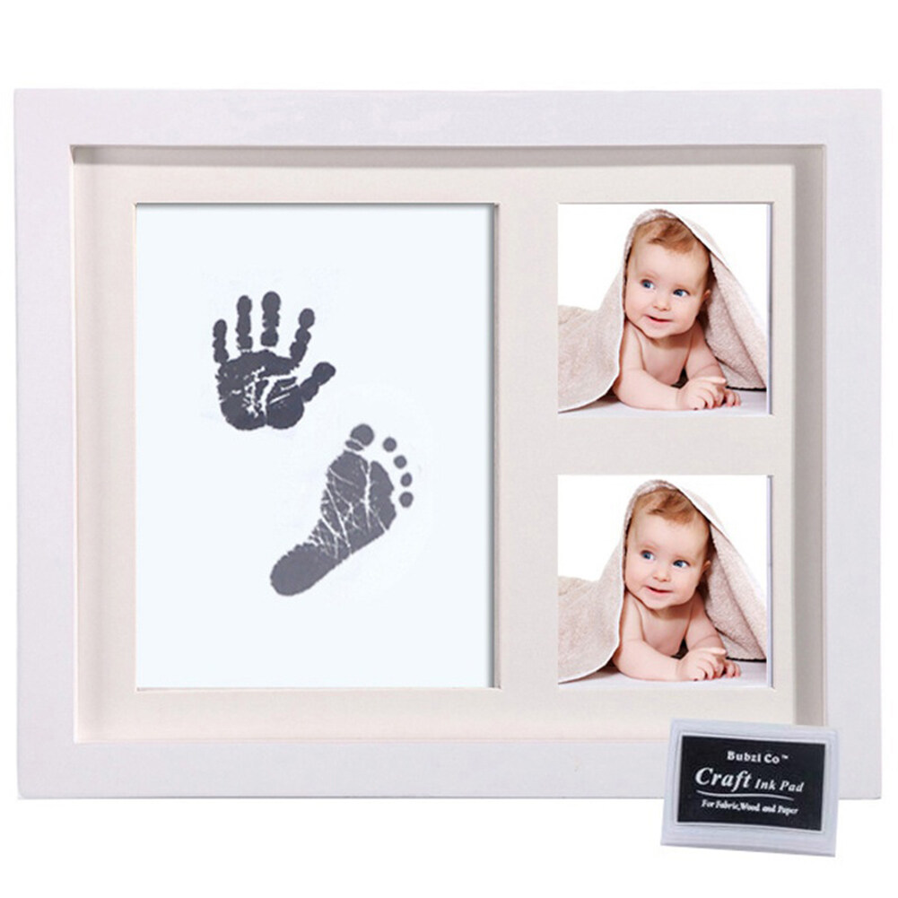 Newborn Baby Handprint Footprint Non-Toxic Ink Pad Wood Photo Frame Memento By Yearkey.