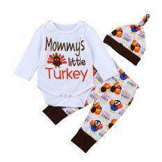 cfe41a8b91c2 Newborn Infant Baby Girl Letter Romper Tops+Pants+Hat Thanksgiving Outfits  Set