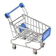 niceeshop(TM) Mini Supermarket Handcart Shopping Utility Cart Mode Desk Storage Toy,Dark Blue