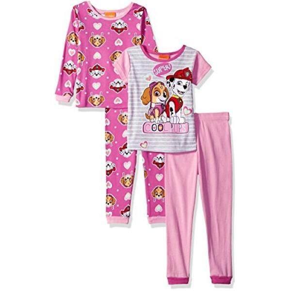 cea45a04a4 Nickelodeon Nickelodeon Little Girls Paw Patrol 4-Piece Cotton Pajama Set