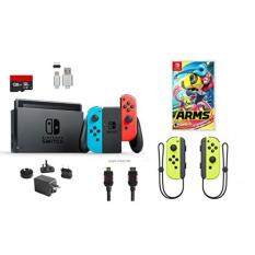 Nintendo Switch Bundle (7 items): 32GB Console Neon Red Blue Joy-con, 128GB Micro SD Card, Nintendo Joy-Con (L/R) Wireless Controllers Yellow, Game Disc-Arms, Type C Cable, HDMI Cable Wall Charger