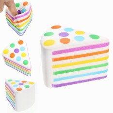 Tidak Tidak Licin Jumbo Rainbow Cake 10 Cm Lambat Rising dengan Kemasan Kaus Hangat Huruf Mainan