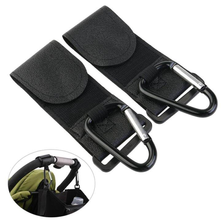 NUOLUX 2pcs Buggy Pram Pushchair Stroller Metal Hanging Clip Hooks (Black)