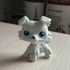 Original 1pc LPS cute toys Lovely Pet shop animal WHITE Puppy Collie Dog blue eyes action
