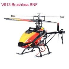 Asli Wltoys V913 Versi Tanpa Sikat 2.4G 4CH Helikopter RC BNF Merah