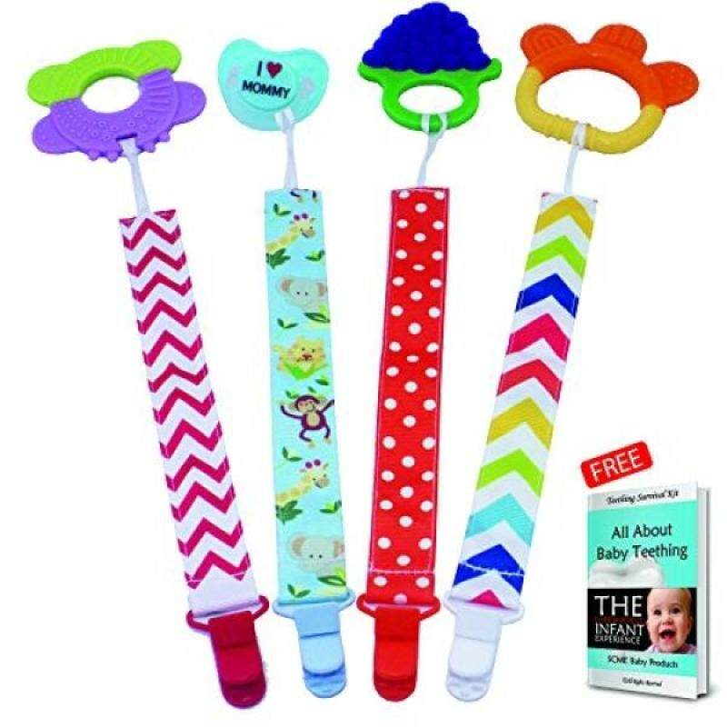 Pacifier  Dummy clips holder for baby pacifiers, soother, binky. Personalized design baby boy and girls with strong leash chain to hold soothie. Now with animal pacifier strap design & FREE E-BOOK Singapore