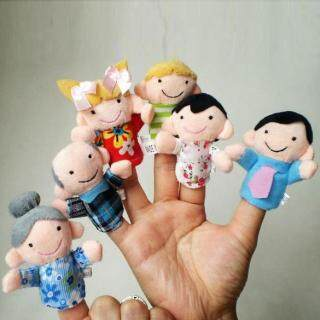 PAlight 6Pcs Family Finger Puppets Cloth Doll Baby Hand Toy thumbnail