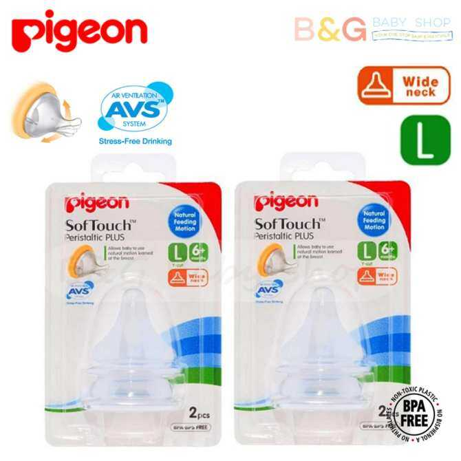 Pigeon Peristaltic Plus Wide Neck Silicone Nipple ( Teat ) Size L 4pcs