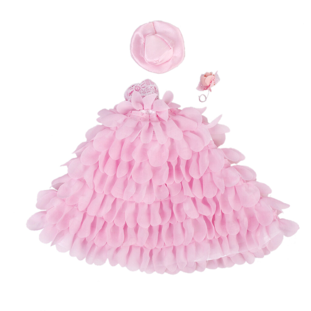 Pink Bridal Wedding Gown Lace Floral Dress With Hat And Flower For Dolls - intl
