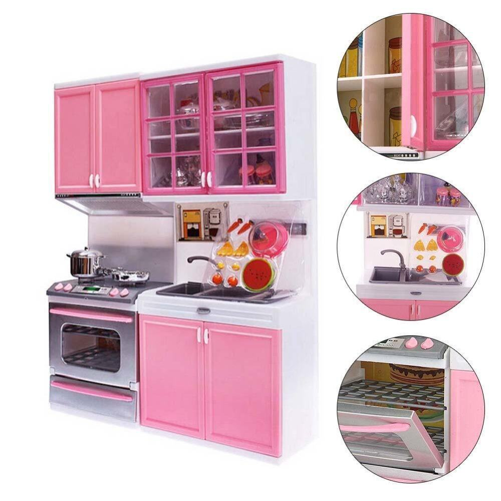 Hình ảnh Pink Sale Kid Kitchen Fun Toy Pretend Play Cook Cooking Cabinet Stove Set Toy - intl