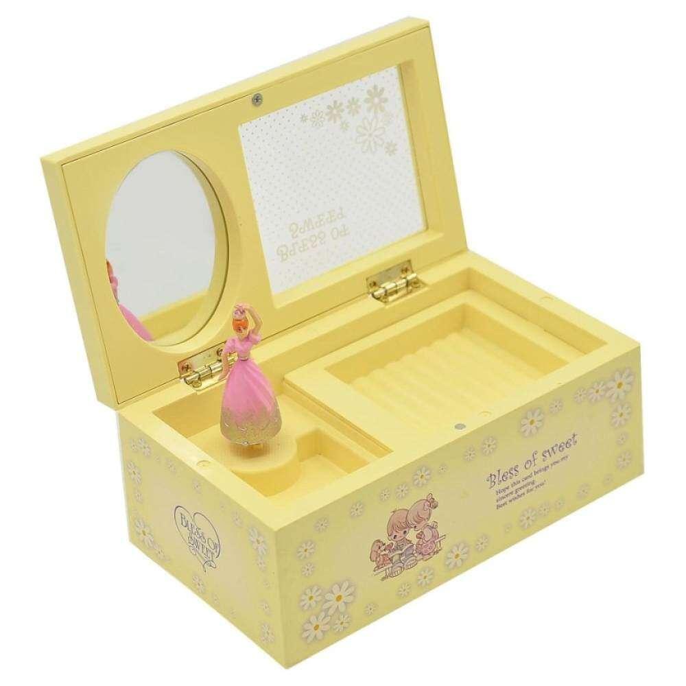 Plastic Dancing Ballerina Music Box Mechanical Musical Jewelry Music Christmas Yellow Kids Gift Box Birthday BoxGirls