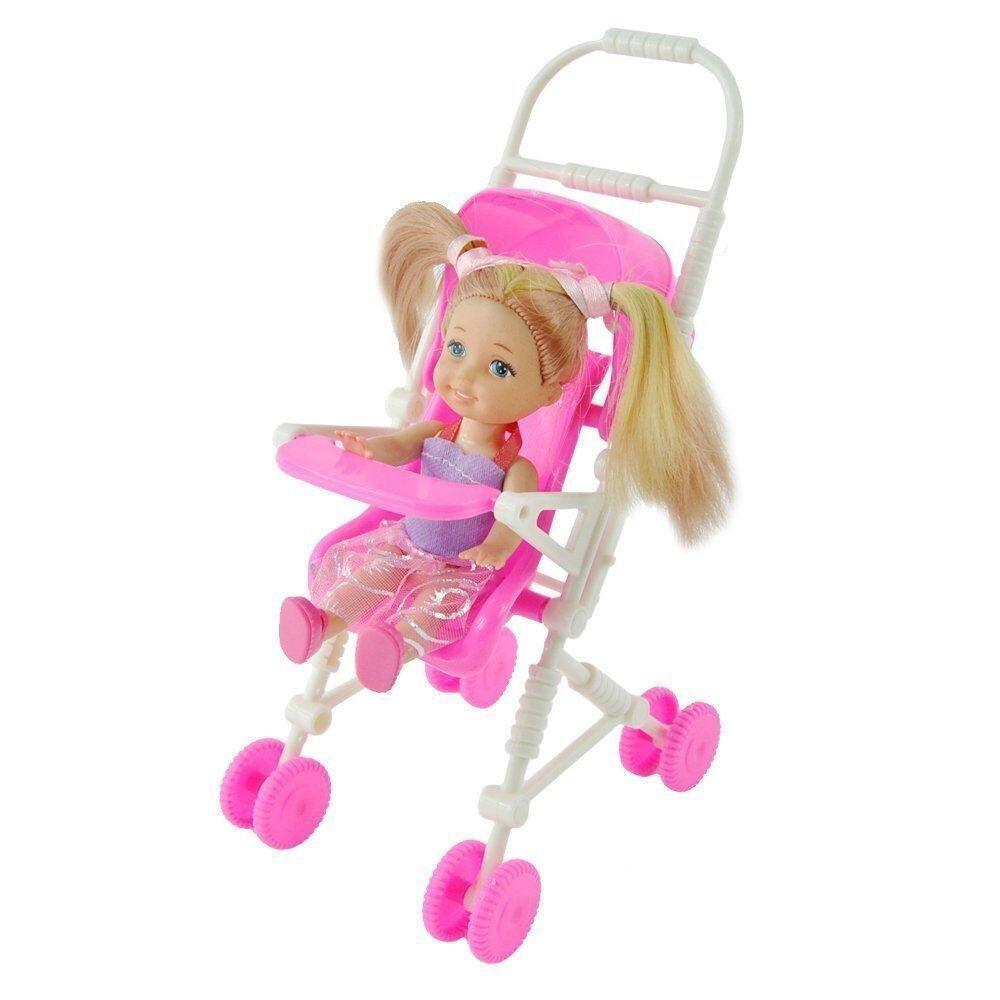 Plastik Furniture Baby Carriage Stroller untuk Boneka Barbie-Internasional