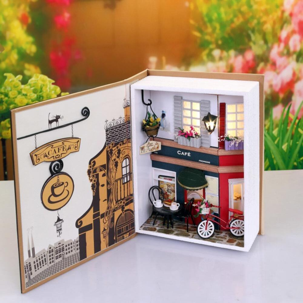 (Prague Summer Holiday Diary)Dollhouse Miniature DIY House Book Wood Cute Cafe House with LED Furniture Kit - intl