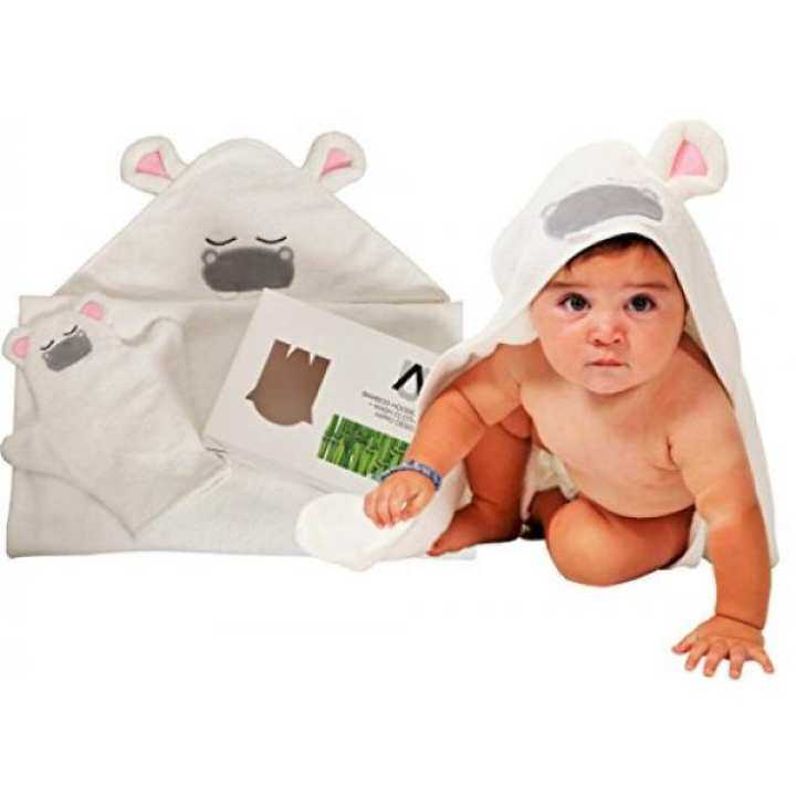 Premium Bamboo Hooded Baby Towel + Washcloth Mitt Set, 2x Thick + Soft+ Absorbent, Perfect Size for Infants,Toddlers, Newborns- Great Baby Shower Gift for Boys and Girls by AMUNIQ