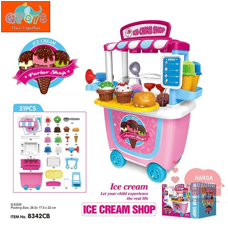 QTOYS 31pcs Ice Cream Shop Moveable Wheel Case Kids Playset Simulation Role Pretent Play Toys 777530