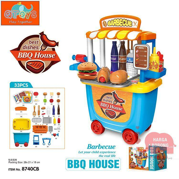 QTOYS 33pcs BBQ Burger House Moveable Wheel Case Kids Playset Simulation Role Pretent Play Toys 777529
