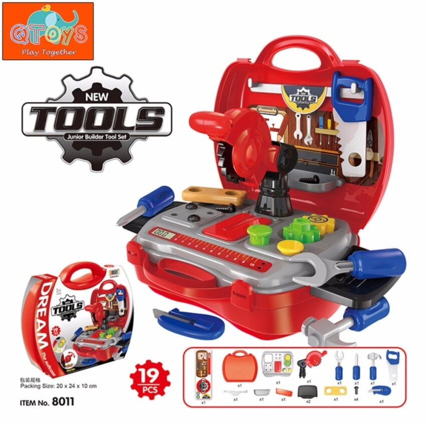 QTOYS Builders Tools Kids Playset Simulation Role Play Toys (19pcs) 777513