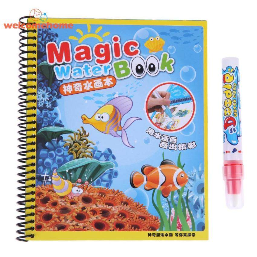 Reuse Water Paint Coloring Book with Magic Doodle Pen Kids Educational Toys(Green)-