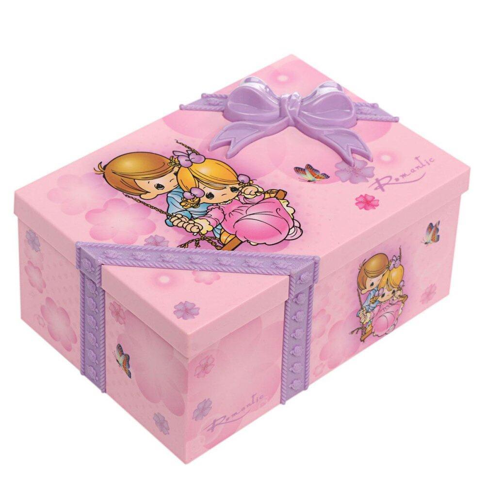 RHS Kotak Musik Cewek Anak Musik Kotak Perhiasan Persegi Panjang dengan Pink Ballerina-Intl
