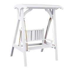 Cestlafitdollhouse Furnitur Miniatur Taman Ayunan Kayu Kursi Goyang Putih 1/12-Internasional