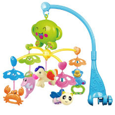 Rotatable Music Mobile Bed Crib Bell With Hanging Dolphin Crab Horse Bee Monkey Decoration Rattle Toys Learning Educational Toy For Baby Kid Blue By Stoneky.