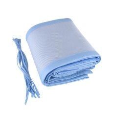 Safety Panel Bumper Nursery Bedding Breathable Mesh Crib Liner Baby Cot Bed Set Blue By Minxin.