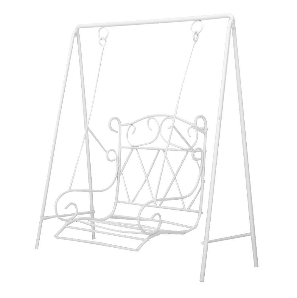 Scale Miniature Garden Furniture Metal Swing Rocking Chair White 1/12 - intl