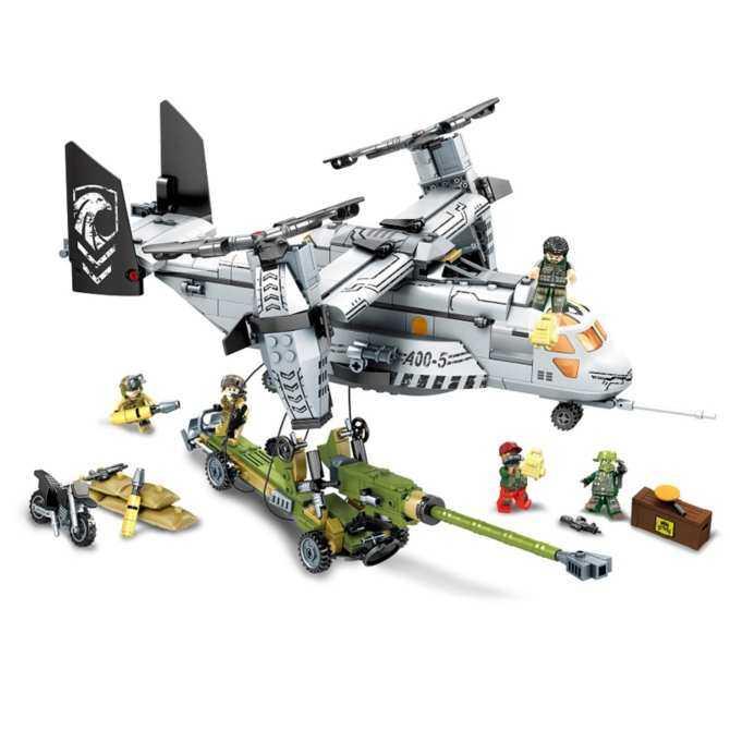 Sembo Block 11712 2017 New 640Pcs Swat Team Figures Black Gold Helicopter Fighter Model Building Kit Blocks Bricks DIY Toy For Children Gift - intl