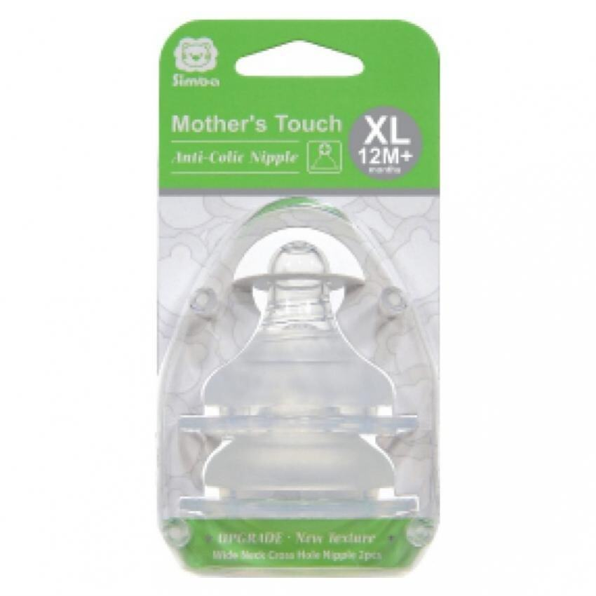 SIMBA WIDE NECK CROSS HOLE XL - 2 PCS  Mother's Toch Anti- Colic Nipple