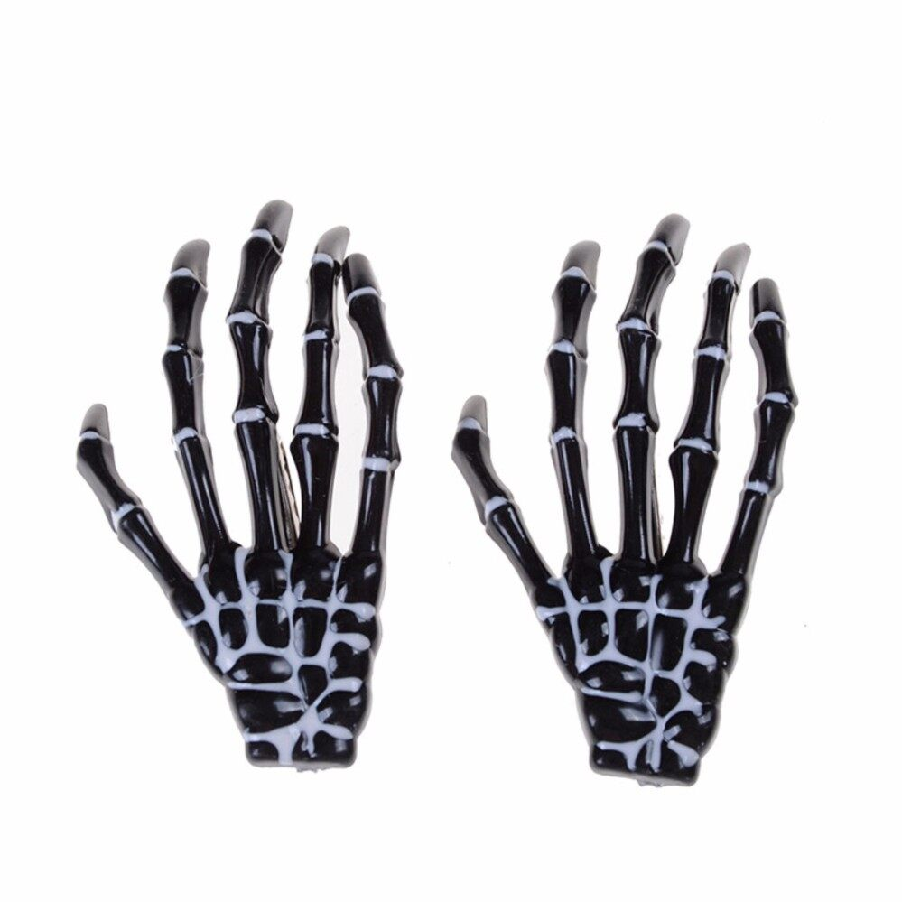 Skull Skeleton Hand Bone Claw Hairpins Hair Clips Special Halloween Black - intl