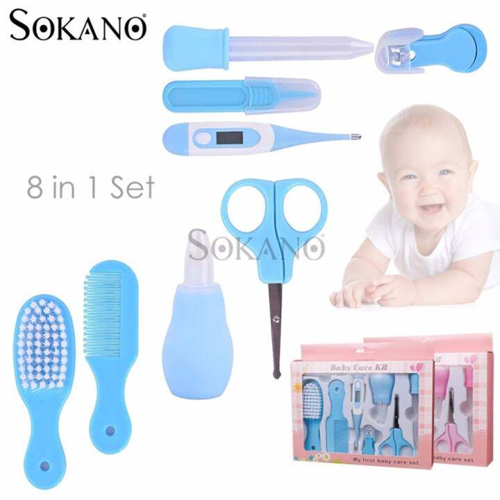 SOKANO 8 in 1 Set My First Baby Newborn Baby Care Kit Set - Blue