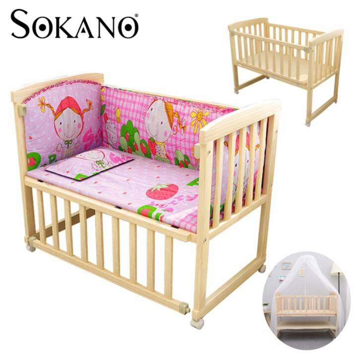 SOKANO HA222 Single Tier 3 in 1 Natural Paintless Nontoxic Easel Wooden Baby Cot and Cradle
