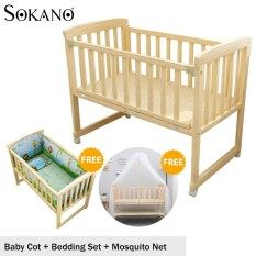Sokano Hb501 Single Tier 3 In 1 Natural Paintless Nontoxic Easel Wooden Baby Cot And Cradle