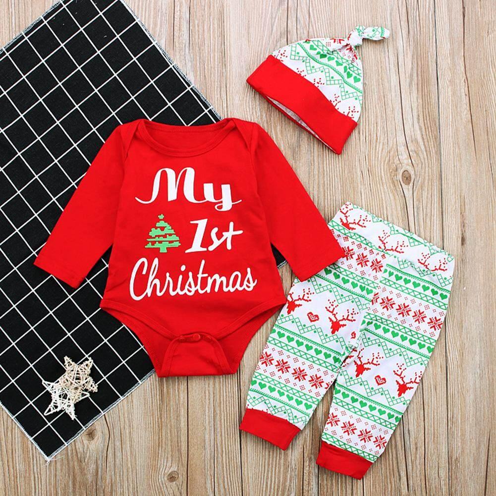 Ss 3 ชิ้น/เซ็ตทารกแรกเกิดแขนยาวสไตล์คริสต์มาส Jumpsuits ฤดูหนาวชุดเด็กภาพถ่าย Props สี: สีแดง Cc01160 ขนาด: 90 - นานาชาติ.