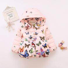 Ss Baby Girl Butterfly Pattern Thick Cotton-Padded Hooded Coat Outwear Warm Clothes For Winter Color:pink Size:100cm By Super Star Mall.