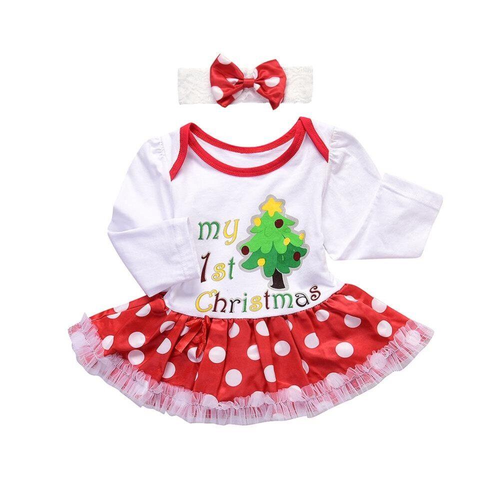 SS Bayi Perempuan Lucu Fashion Pertama Saya Rok Tutu Natal Gaun + Busur Ikat Kepala Pakaian Pakaian Gaun Putri Warna: Putih Ukuran: 100 CM-Intl