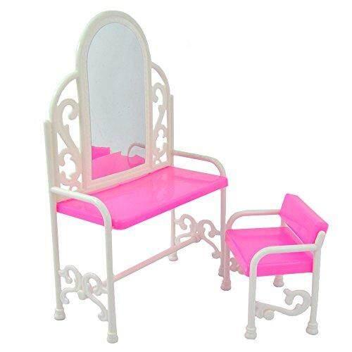 Starmall Yiding Modis Dressing Meja dan Kursi Set untuk Boneka Barbie Bedroom Furniture Anak Mainan Pendidikan-Internasional